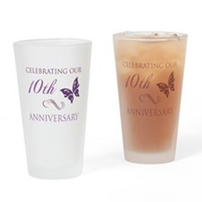 10th Anniversary (Butterfly) Drinking Glass