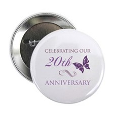 """20th Anniversary (Butterfly) 2.25"""" Button"""