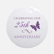 25th Anniversary (Butterfly) Ornament (Round)