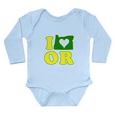 I Heart (Love) Oregon Long Sleeve Infant Bodysuit