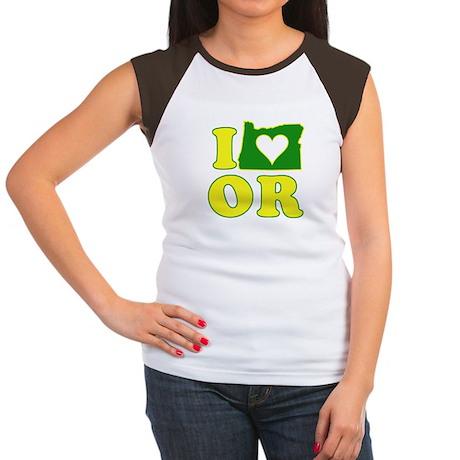 I Heart (Love) Oregon Women's Cap Sleeve T-Shirt