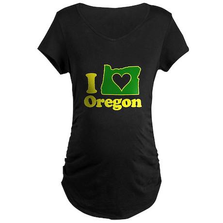 I Heart (Love) Oregon Maternity Dark T-Shirt