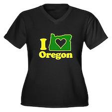 I Heart (Love) Oregon Women's Plus Size V-Neck Dar