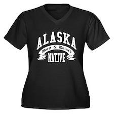Born in ALASKA Women's Plus Size V-Neck Dark T-Shi