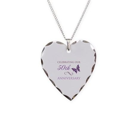 50th Anniversary (Butterfly) Necklace Heart Charm