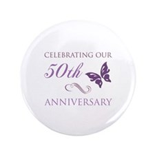 """50th Anniversary (Butterfly) 3.5"""" Button"""