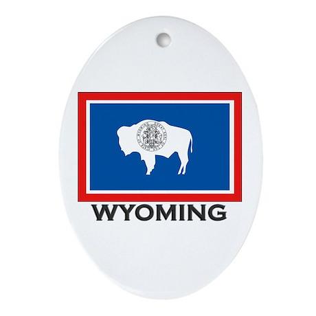 Wyoming Flag Stuff Oval Ornament