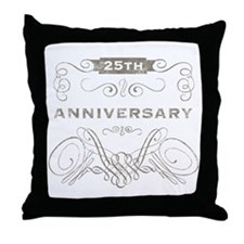 25th Vintage Anniversary Throw Pillow