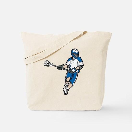 Blue Lacrosse Player Tote Bag