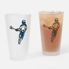 Blue Lacrosse Player Drinking Glass
