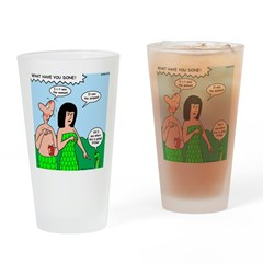 Adam and Eve Blame Game Drinking Glass