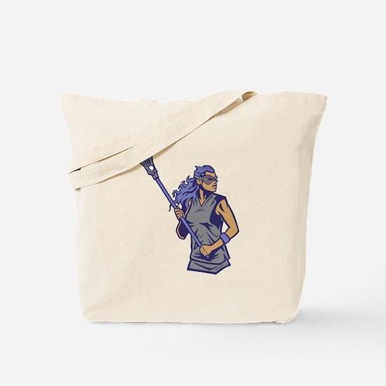 Female Lacrosse Player Tote Bag
