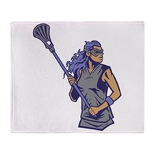 Female Lacrosse Player Throw Blanket