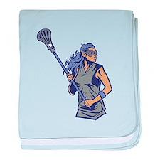 Female Lacrosse Player baby blanket