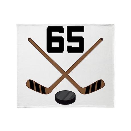 Hockey Player Number 65 Throw Blanket