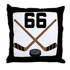 Hockey Player Number 66 Throw Pillow