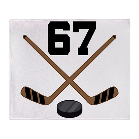 Hockey Player Number 67 Throw Blanket