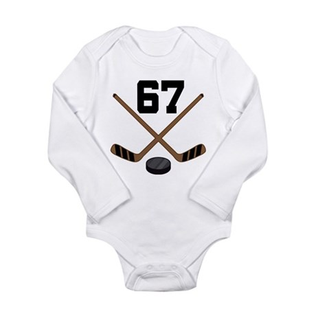 Hockey Player Number 67 Long Sleeve Infant Bodysui