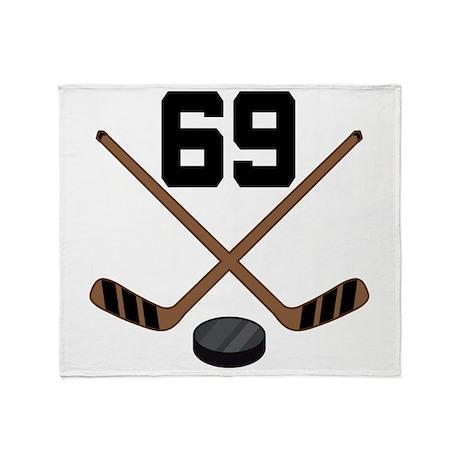 Hockey Player Number 69 Throw Blanket
