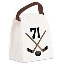 Hockey Player Number 71 Canvas Lunch Bag