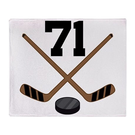 Hockey Player Number 71 Throw Blanket