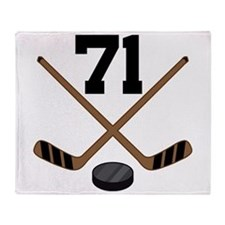Hockey Player Number 71 Throw Blanket