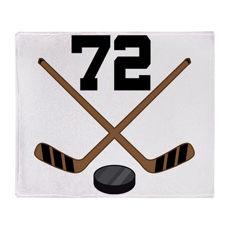 Hockey Player Number 72 Throw Blanket