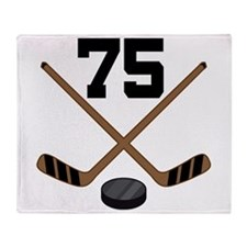 Hockey Player Number 75 Throw Blanket