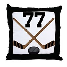 Hockey Player Number 77 Throw Pillow