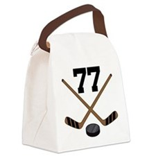 Hockey Player Number 77 Canvas Lunch Bag