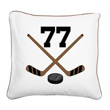 Hockey Player Number 77 Square Canvas Pillow