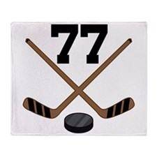 Hockey Player Number 77 Throw Blanket