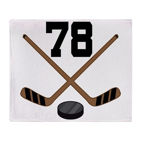 Hockey Player Number 78 Throw Blanket