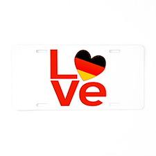 Red German LOVE Aluminum License Plate