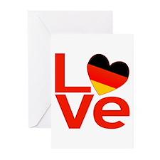 Red German LOVE Greeting Cards (Pk of 10)