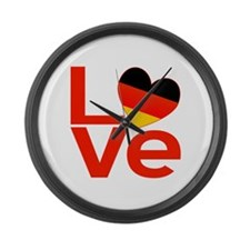 Red German LOVE Large Wall Clock