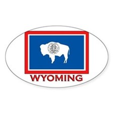 Wyoming Flag Merchandise Oval Stickers
