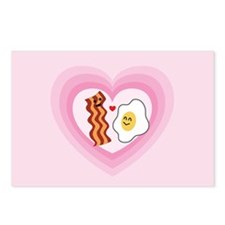 Pink Heart Valentine Bacon & Eggs in Love Postcard
