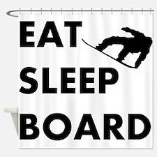 Eat Sleep Board Shower Curtain