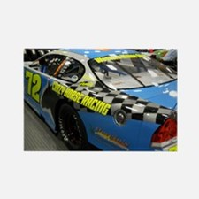 Checker Blue 72 Racing Car Rectangle Magnet
