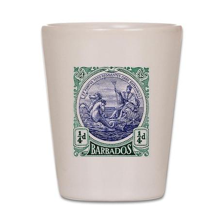 1916 Barbados Neptune Postage Stamp Shot Glass