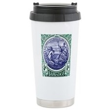 1916 Barbados Neptune Postage Stamp Travel Mug