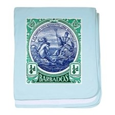 1916 Barbados Neptune Postage Stamp baby blanket