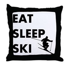 Eat Sleep Ski Throw Pillow