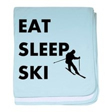 Eat Sleep Ski baby blanket