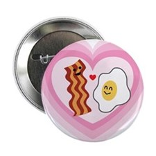 "Pink Heart Valentine Bacon & Eggs in Love 2.25"" Bu"