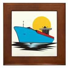 Container Ship Cargo Boat Retro Framed Tile