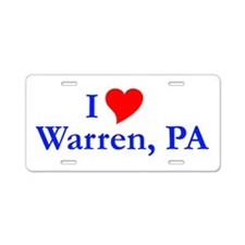 I Love Warren Aluminum License Plate