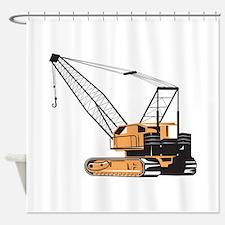 Construction Crane Hoist Retro Shower Curtain