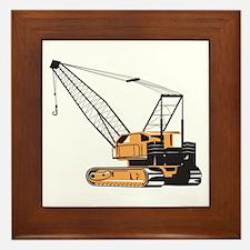 Construction Crane Hoist Retro Framed Tile